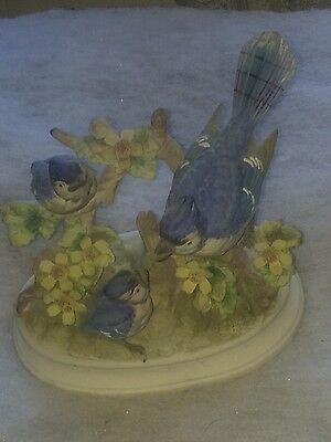 3 Blue Jay's Ceramic Figurine on Tree Limbs and Floral Design