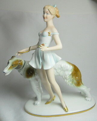 SPECTACULAR Vintage ART NOVEAU Porcelain Statue of Woman with Wolfhound - Large