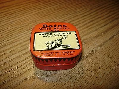 Vintage Bates Wire Refill For Bates Stapler Full Wire Reel Old Tin W/directions
