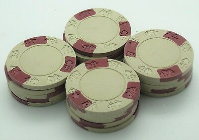 Set of 20 ASM Casino Style Diecar Mold Clay Chips Beige-Red Inserts FREE SHIP