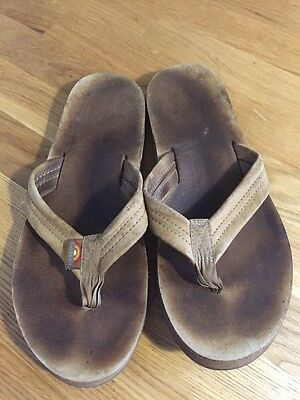 Men's well worn used Rainbow brown leather flip flops sandals Size 9.5