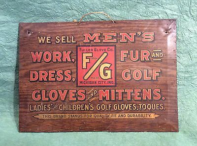 Unusual Antique Tin Golf Advertising Sign Display For Gloves Michigan City, Ind.