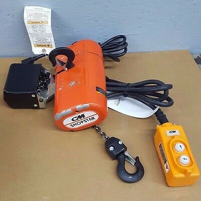 CM ShopStar 300lb Electric Chain Hoist 10' Lift 115 Volt single phase MFG. 2016