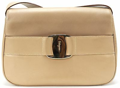 SALVATORE FERRAGAMO Authentic Beige Leather Gold Logo Clasp Shoulder Bag