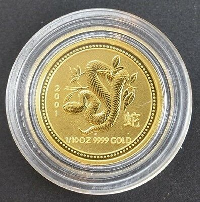 "2001 Australia ""Year of the Snake"" 1/10 Ounce Gold (Series I)"