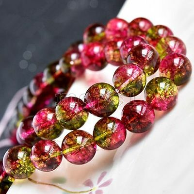 "Genuine 8MM Natural Watermelon Tourmaline Round Gemstone Loose Beads 15"" AAA"