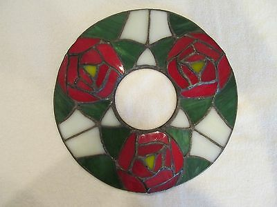 Rose Design Stained Leaded Glass Wreath