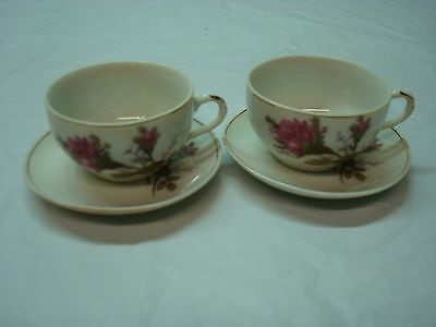 Vintage Beautiful Cup and Saucer, 2 Sets with Burgundy Roses