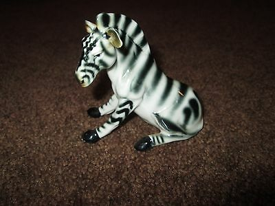 "Vintage RARE Taiwan Bone China SITTING ZEBRA 3 1/2"" Tall"