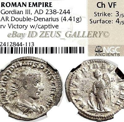 NGC GORDIAN III Choice VF VICTORY with Captive Ancient Roman Silver Coin