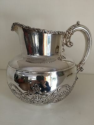 Antique Victorian Wilcox Repousse Silverplate Large Water Pitcher Jug