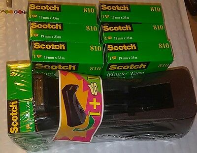 Scotch Magic Tape, 3/4 x 1296 Inches, Lot of 7 Rolls 810 3M France+1 Dispenser
