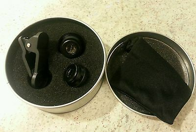 New!! Mobile Cell Phone Camera Lens Kit Fisheye Macro Wide Angle Clip On In Case