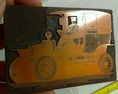 Vintage Letterpress Printing Block Antique Car with Driver Large Rare