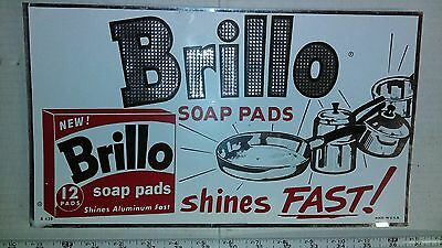 Vintage 1950s BRILLO Soap Pad Advertising Thin Metal Sign Textured Rare