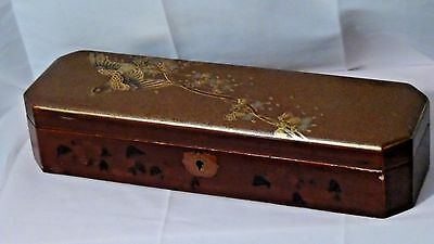 Antique Meiji Japanese Lacquered Painted Pen Box W/bird Perched On Bushes