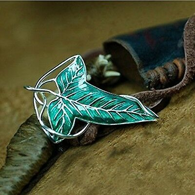 Lord of the Rings Elven Leaf Brooch Green Leaf Clasp Pin Silver + Enamel