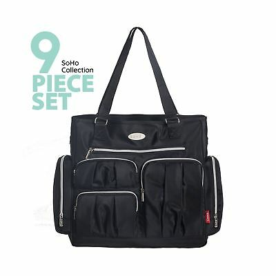 SoHo Collection Times Square 8 pieces Diaper Tote Bag set (Classic Black)