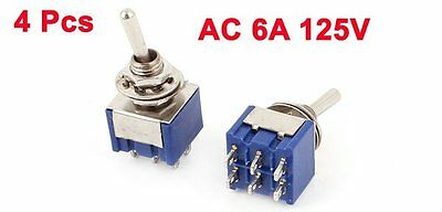 4 Pcs AC 6A 125V 2 Position 6Pins DPDT ON-OFF Micro Mini Toggle Switch