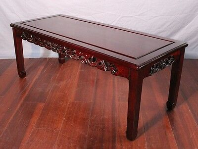 Chinoserie Rosewood Hand Carved Coffee Table Cocktail Console Side Low Chinese