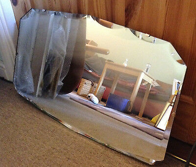 Vintage Art Deco Mirror 23 inch Wooden Backed Bevel Scalloped 1930s/ 50s
