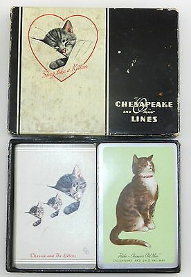 CHESAPEAKE And OHIO RAILROAD LINES ~ Double Deck Playing Cards ~ RAILWAY ~ Used