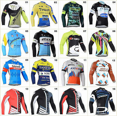16 Style Bicycle Team Road Bike Clothing Jerseys Long Sleeve Tops Riding Shirt