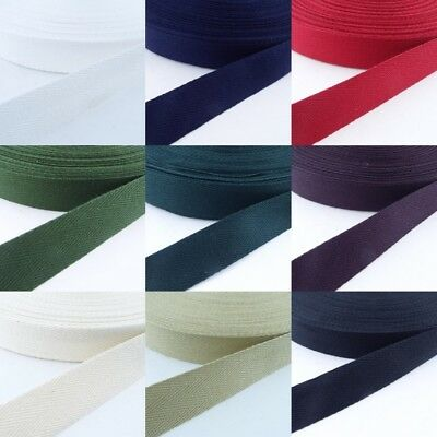 9 COLOUR 25mm Cotton Herringbone Twill Tape 1mm Thick Apron Bag Strap Webbing