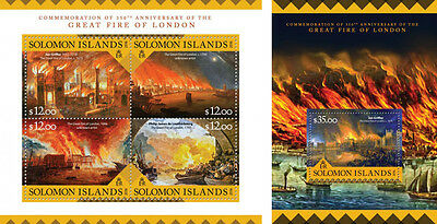 Solomon Islands Fire of London Great Britain MNH stamp set 2 sheets
