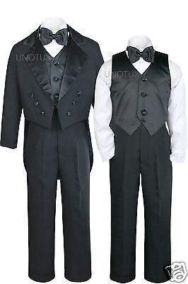 New Baby Toddler Kid Teen Wedding Formal Black Boy Suit Tuxedo 5pc Set sz S-20