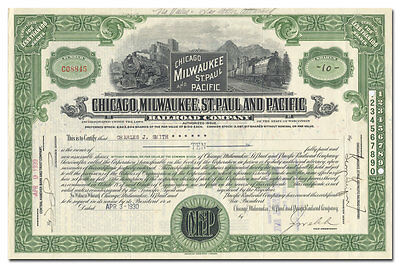 Chicago, Milwaukee, St. Paul & Pacific Railroad Co Stock Certificate (Rare Type)