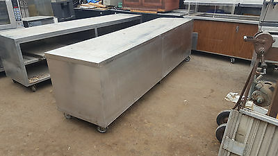 10ft Stainless WORK TABLE / COUNTER On Casters with Storage on Bottom and doors