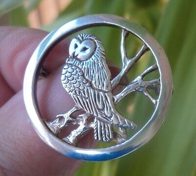 Scottish Sterling Silver Orkney Owl Brooch -  Malcolm Gray of Ortak h/m 1989