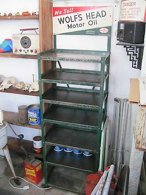 Original Old Time Gas Station Wolf's Head Motor Oil Rack