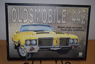 Oldsmobile Cutlass 442 Olds Yellow Muscle Car Metal Tin Sign Automobile