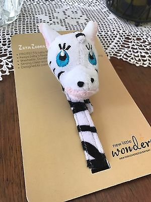 New Little Wonders Animal Pacifier Holder Zebra Designer Clip Baby Shower