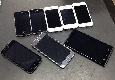 Lot of 8 Smartphones Cell Phones For Parts or Repair Apple Samsung iPhone