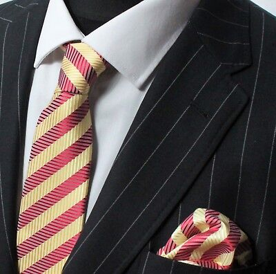 Tie Neck tie with Handkerchief Red & Yellow