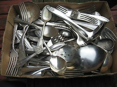 Silverplated Flatware Antique & Vintage 70 Mixed  Pieces
