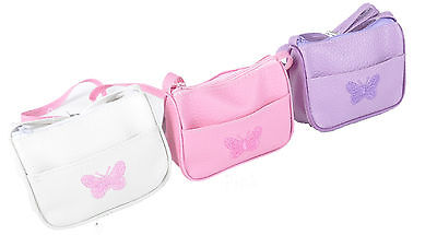 Girls/ Children Purse/Handbag with Embroidered Butterfly in Pink, Lilac, White
