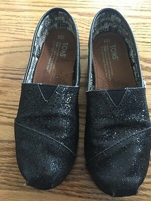 TOMS Youth 3.5 Classic Black Glitter Canvas Slip On Flats Shoes Sparkly