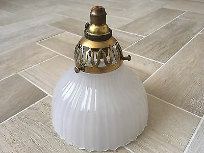 Antique Vintage Art Deco Glass Holophane Lamp Shade Pendant Light Opaline Chapel