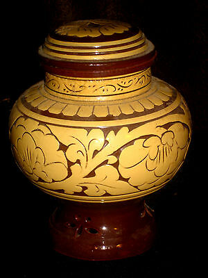 Old Chinese Carved Chrysanthemum Ginger Jar, Red Clay