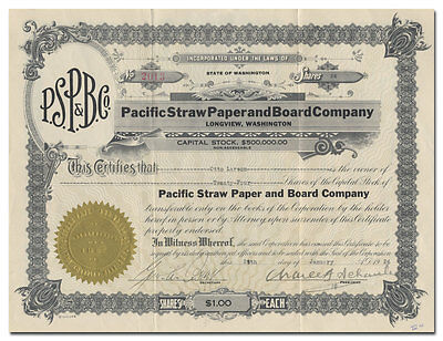 Pacific Straw Paper and Board Company Stock Certificate