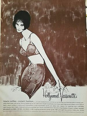 1960 HOLLYWOOD VASSARETTE women's black coffee girdle bra fashion color AD