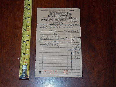 Rare Old Vintage Jc Penney Company Department Store 1920 Receipt