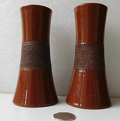 Pair of antique spill holder vases with match striker surface Osman Pottery 6""