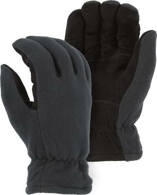 Heat-Lock Insulated-Deer Suede Leather Gloves-Black-GRAY- WOMENS XL-Size 9