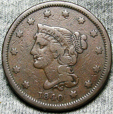1840 Braided Hair Large Cent --- STUNNING TYPE COIN --- #N436