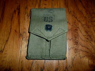 U.s Military Issue M-1956 45 Auto M-1911 Magazine Pouch Green Canvas
